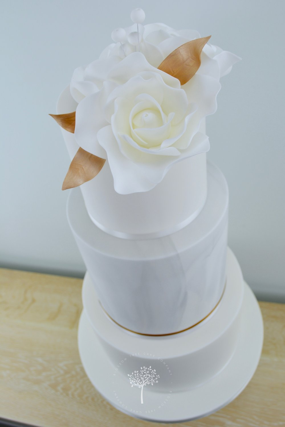 Marble and White Roses wedding cake by Blossom Tree Cake Company Harrogate North Yorkshire - angle.jpg