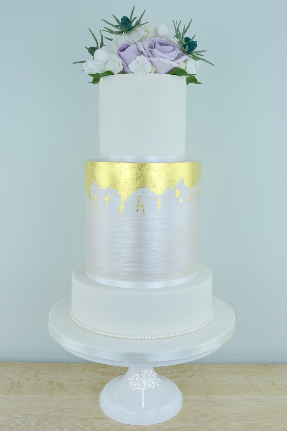 Sea Holly and Roses wedding cake by Blossom Tree Cake Company Harrogate North Yorkshire.jpg