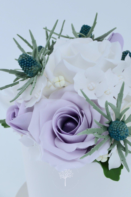 Sea Holly and Roses wedding cake by Blossom Tree Cake Company Harrogate North Yorkshire - sea holly.jpg