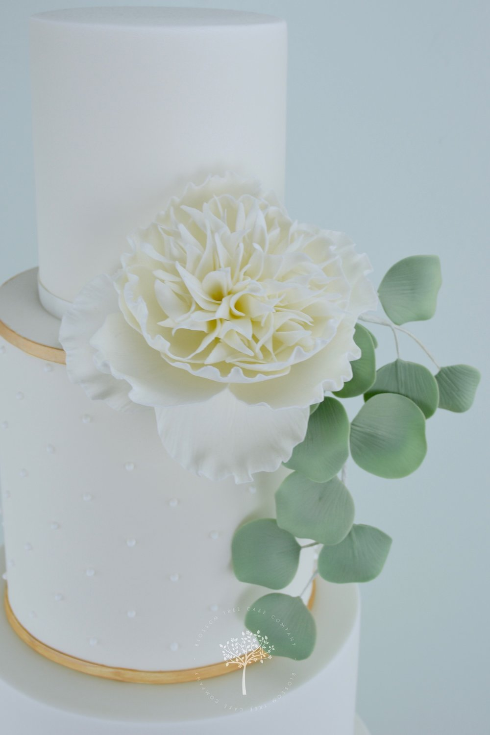 Peony and Eucalyptus wedding cake by Blossom Tree Cake Company Harrogate North Yorkshire - top sugar peony.jpg