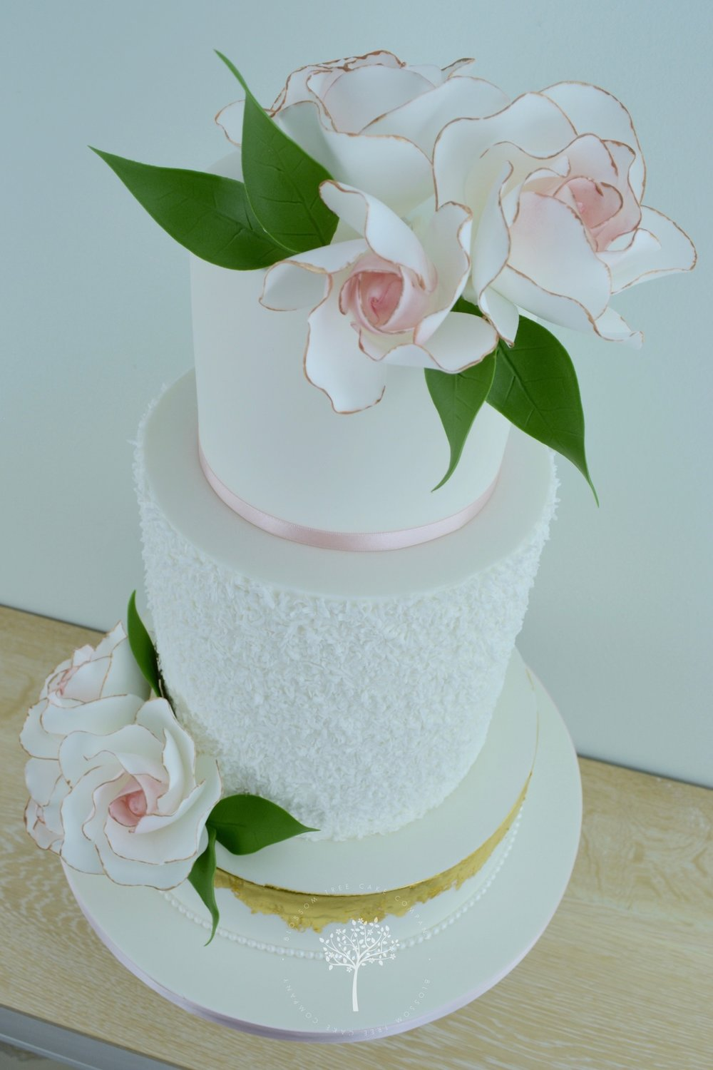 Blush Roses wedding cake by Blossom Tree Cake Company Harrogate North Yorkshire - angle.jpg