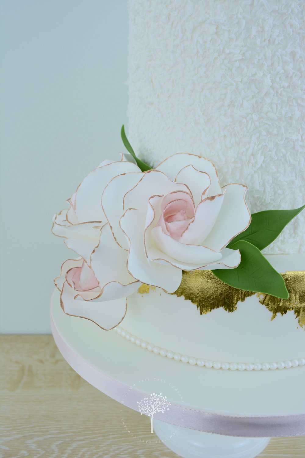 Peony and Eucalyptus wedding cake by Blossom Tree Cake Company Harrogate North Yorkshire - dotted icing.jpg