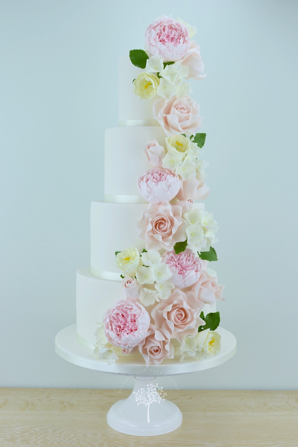 Peony, Rose & Lisianthus Cascade wedding cake by Blossom Tree Cake Company Harrogate North Yorkshire.jpg