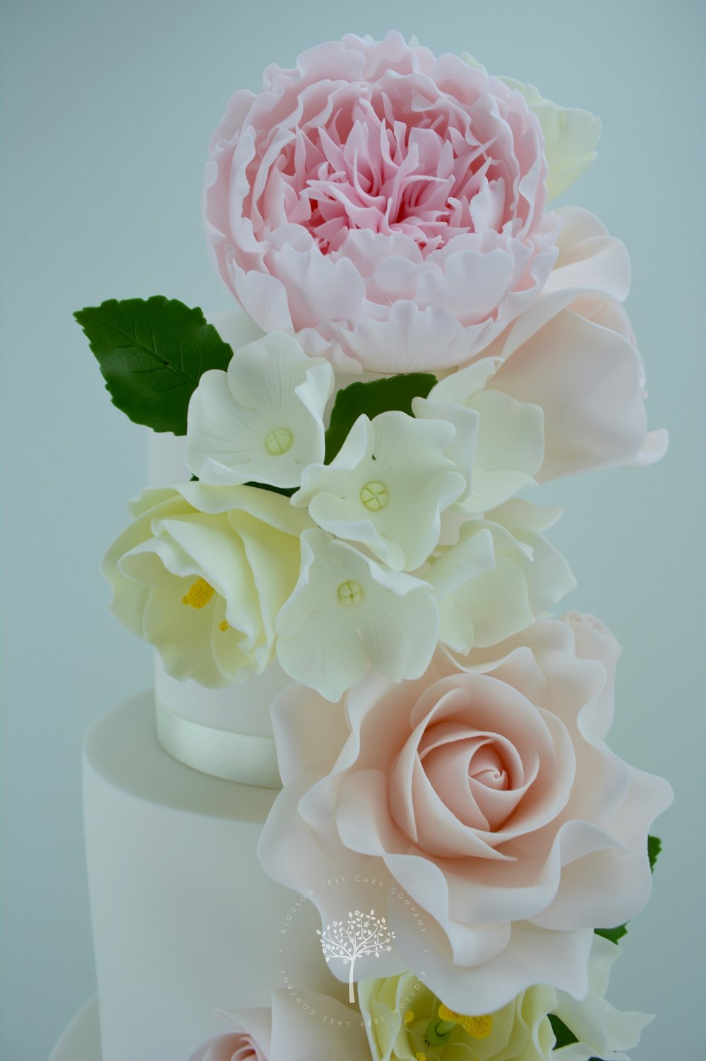 Peony, Rose & Lisianthus Cascade wedding cake by Blossom Tree Cake Company Harrogate North Yorkshire - top sugar flowers.jpg