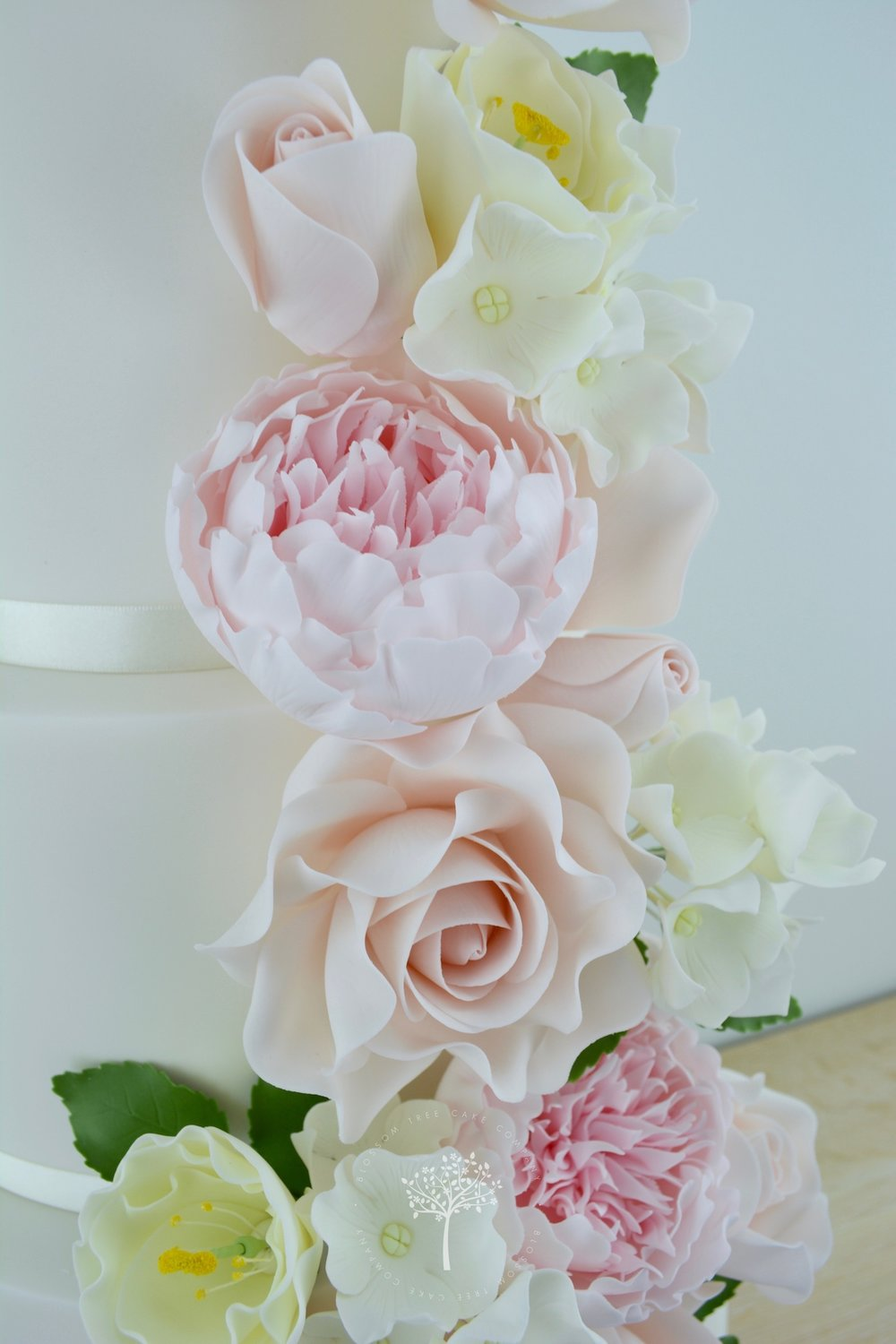 Peony, Rose & Lisianthus Cascade wedding cake by Blossom Tree Cake Company Harrogate North Yorkshire - sugar flowers.jpg