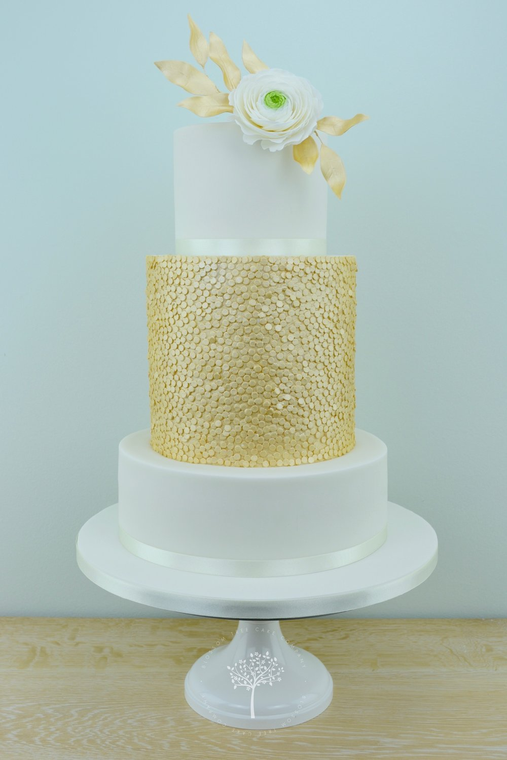 Ranunculus with Gold Sequins wedding cake by Blossom Tree Cake Company.jpg