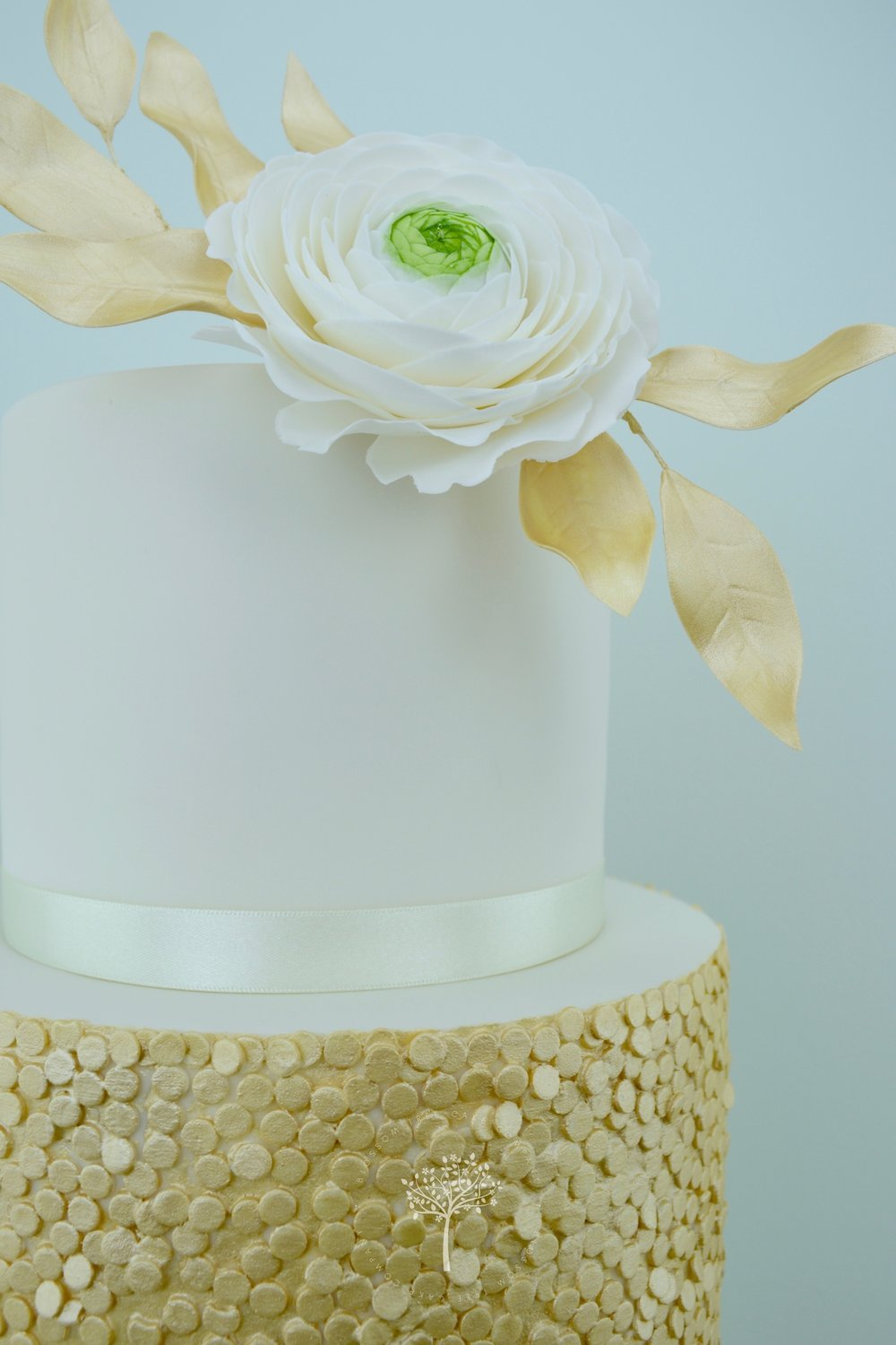 Ranunculus with Gold Sequins wedding cake by Blossom Tree Cake Company - ranunculus.jpg