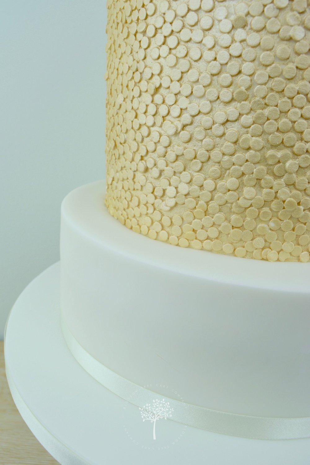 Ranunculus with Gold Sequins wedding cake by Blossom Tree Cake Company - gold sequinsjpg.jpg