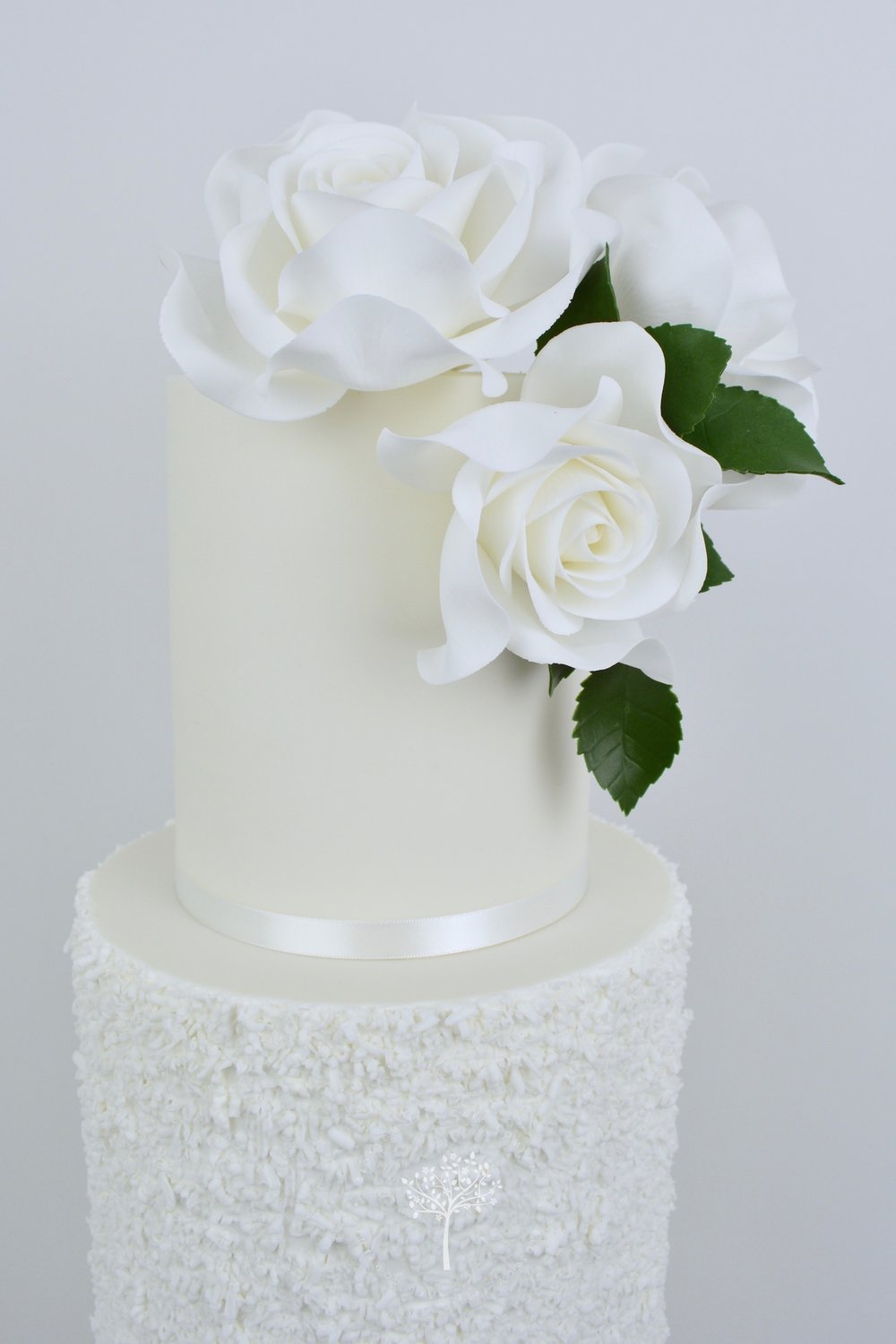 White Rose and Silver wedding cake by Blossom Tree Cake Company Harrogate North Yorkshire - top roses.jpg