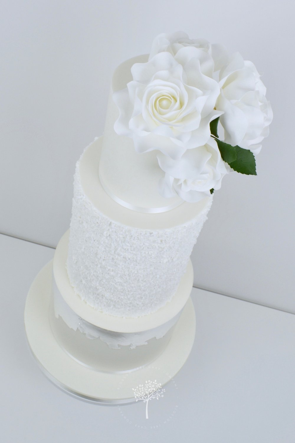 White Rose and Silver wedding cake by Blossom Tree Cake Company Harrogate North Yorkshire - angle.jpg