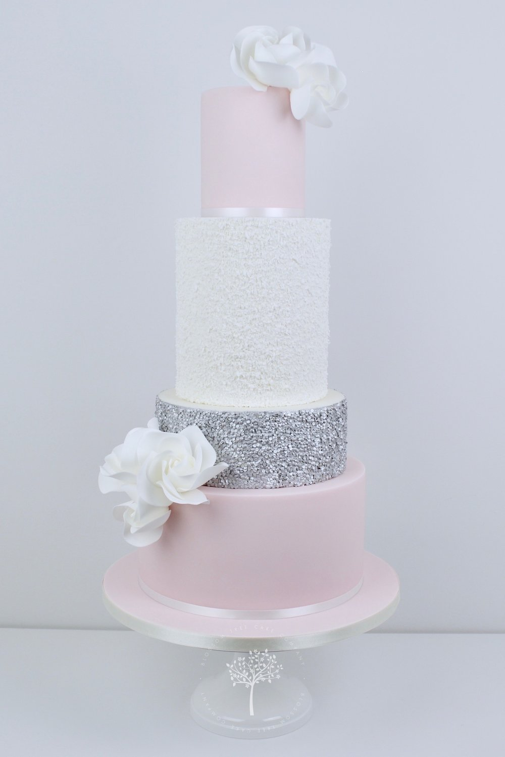 blush and silver sequins wedding cake by Blossom Tree Cake Company Harrogate North Yorkshire.jpg