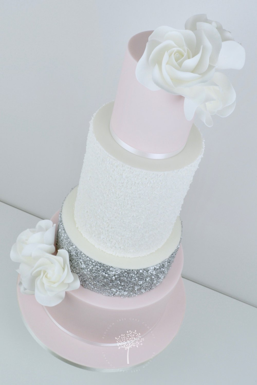 blush and silver sequins wedding cake by Blossom Tree Cake Company Harrogate North Yorkshire - angle.jpg