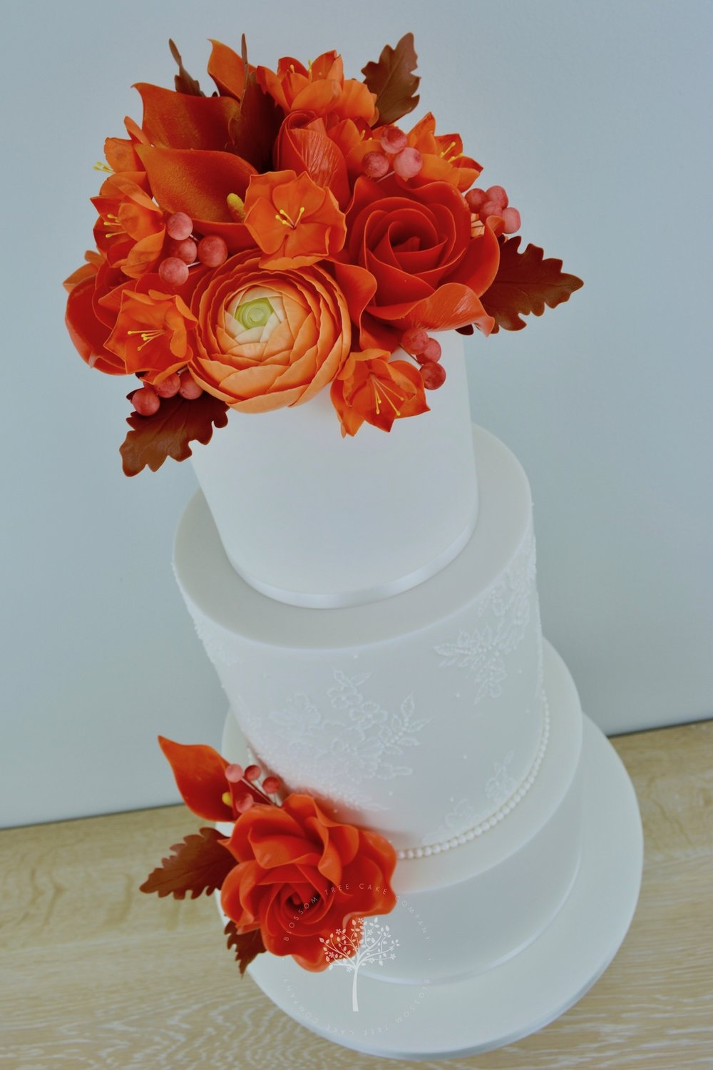 Autumn Lace wedding cake by Blossom Tree Cake Company Harrogate North Yorkshire - angle.jpg