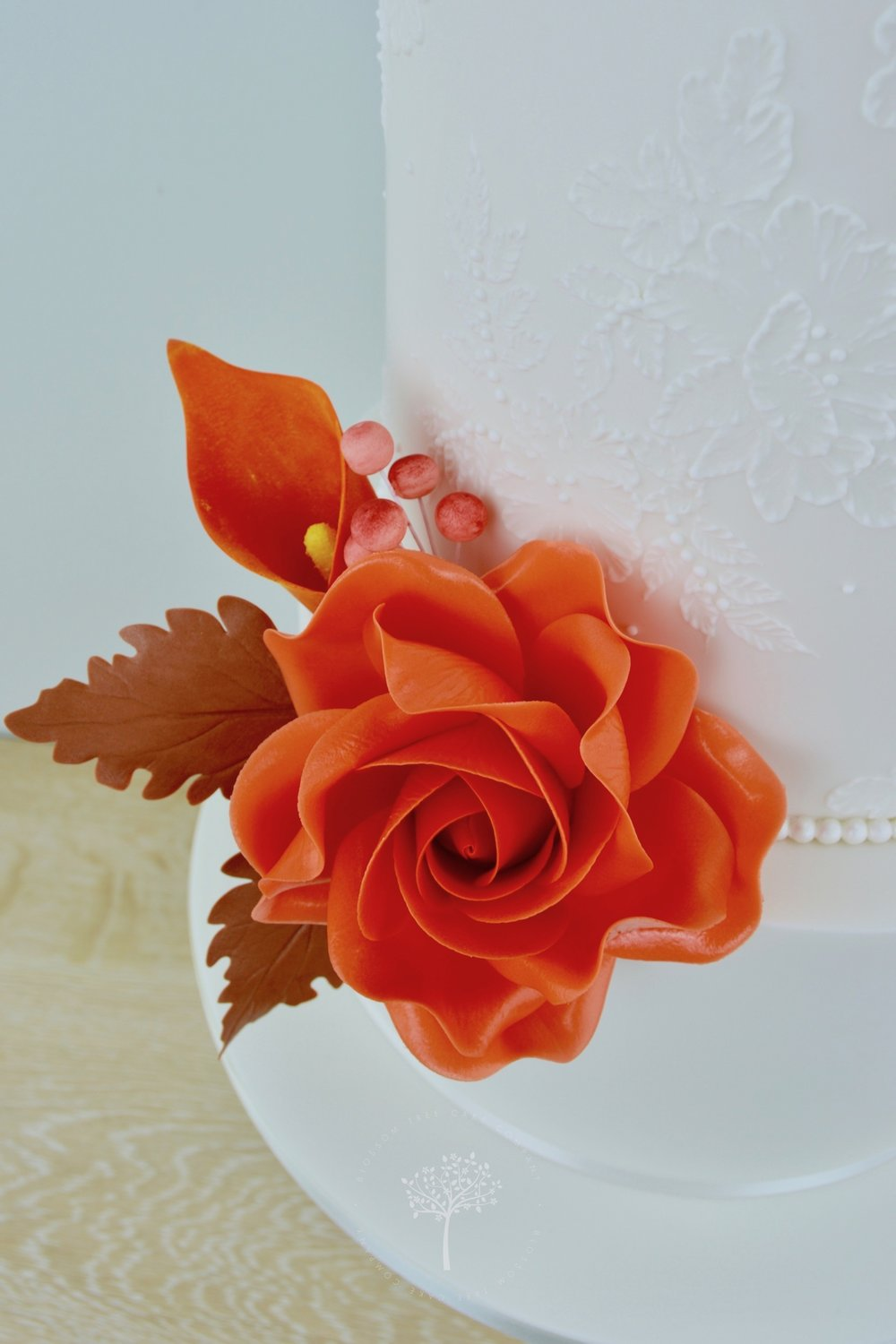 Autumn Lace wedding cake by Blossom Tree Cake Company Harrogate North Yorkshire - embroidery lace icing.jpg