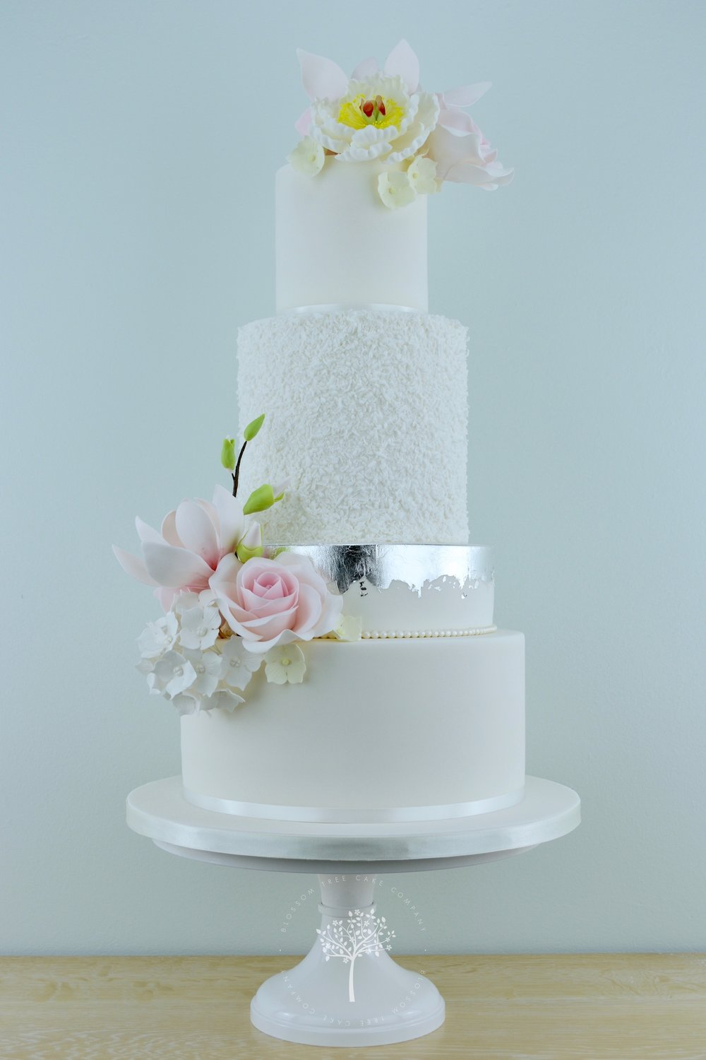 Magnolia Roses and Peony wedding cake by Blossom Tree Cake Company Harrogate North Yorkshire.jpg