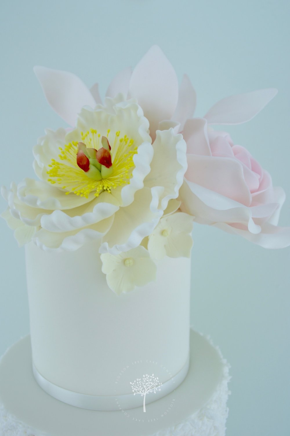 Magnolia Roses and Peony wedding cake by Blossom Tree Cake Company Harrogate North Yorkshire - top sugar peony.jpg