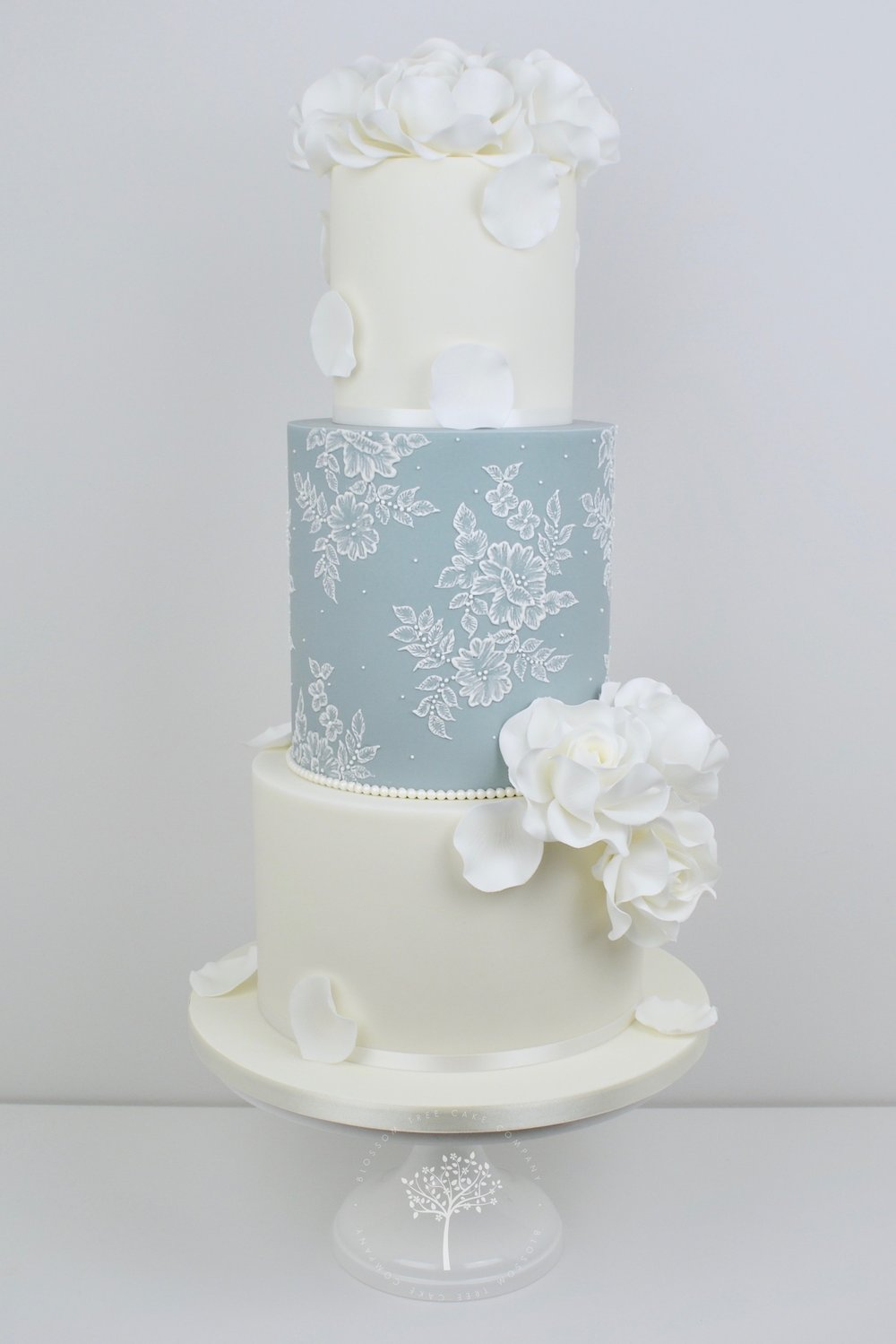 White Roses and Lace wedding cake by Blossom Tree Cake Company Harrogate North Yorkshire.jpg