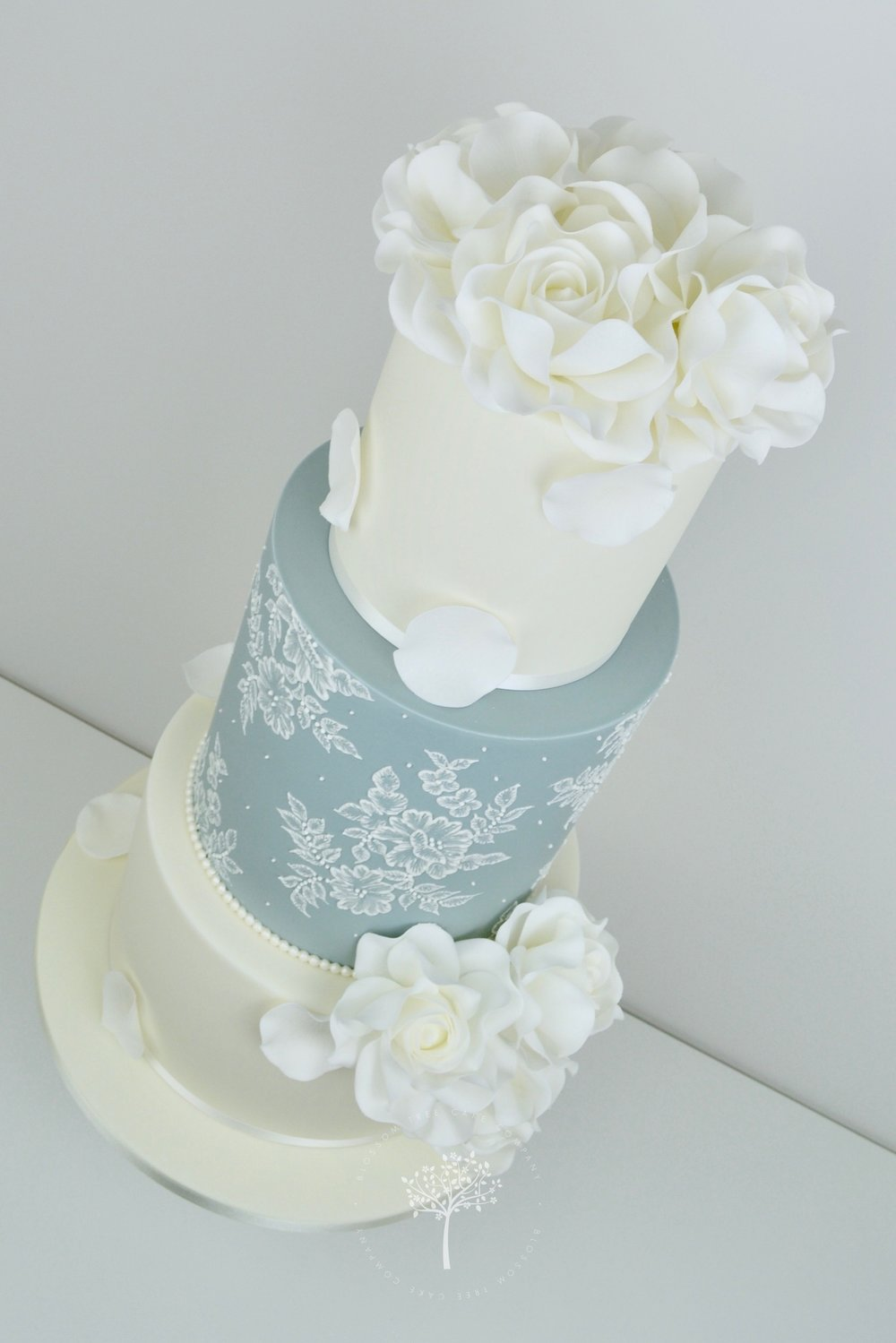 White Roses and Lace wedding cake by Blossom Tree Cake Company Harrogate North Yorkshire - angle.jpg