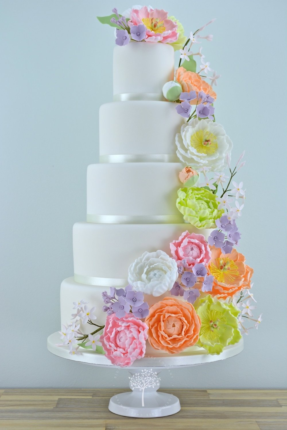 Peony Cascade wedding cake by Blossom Tree Cake Company Harrogate North Yorkshire.jpg
