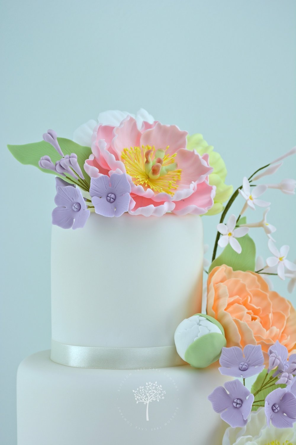 Peony Cascade wedding cake by Blossom Tree Cake Company Harrogate North Yorkshire - top sugar peonies.jpg