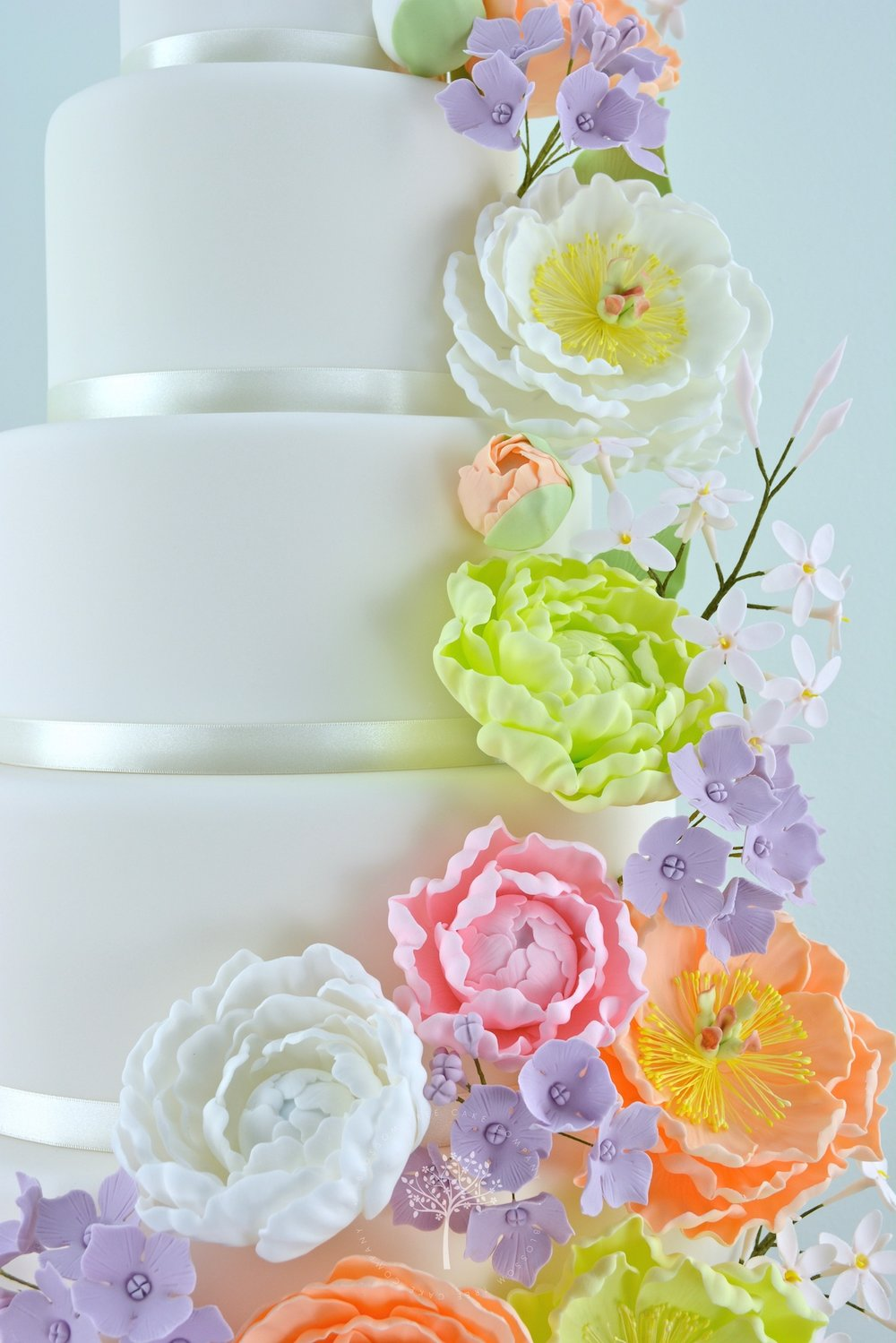 Peony Cascade wedding cake by Blossom Tree Cake Company Harrogate North Yorkshire - sugar peonies.jpg