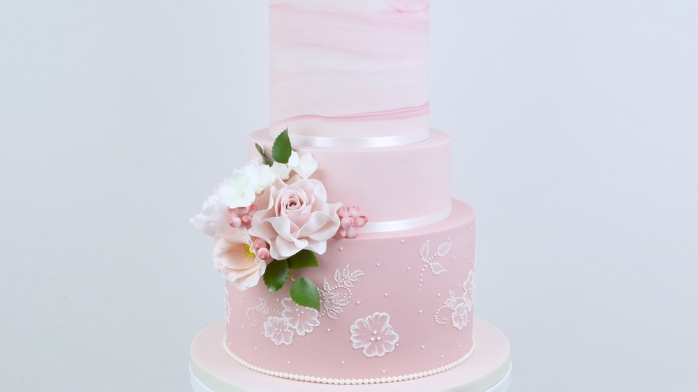 Pink Marble and Lace - A spectacular blush pink marble ombre wedding cake with gorgeous sugar roses, peony and lisianthus