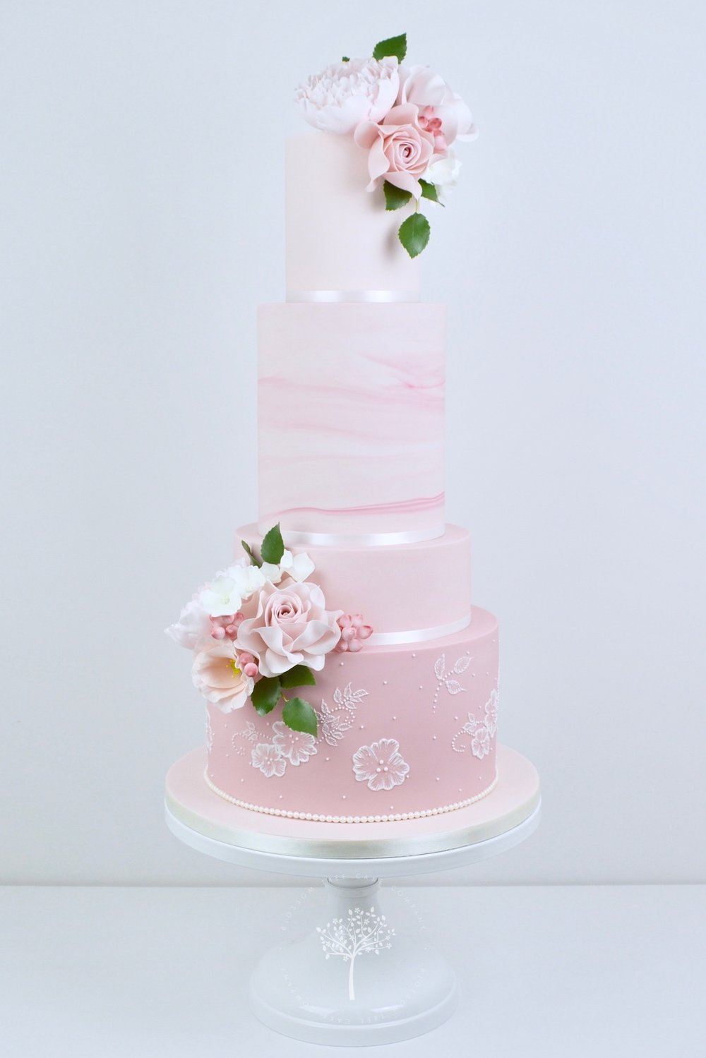 Pink Marble and Lace wedding cake by Blossom Tree Cake Company Harrogate North Yorkshire.jpg