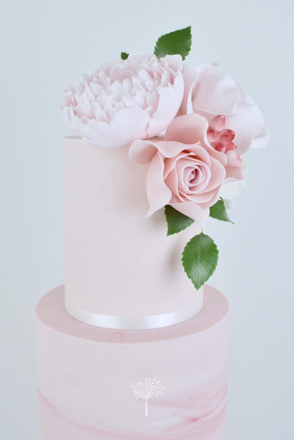 Pink Marble and Lace wedding cake by Blossom Tree Cake Company Harrogate North Yorkshire - top sugar peony.jpg