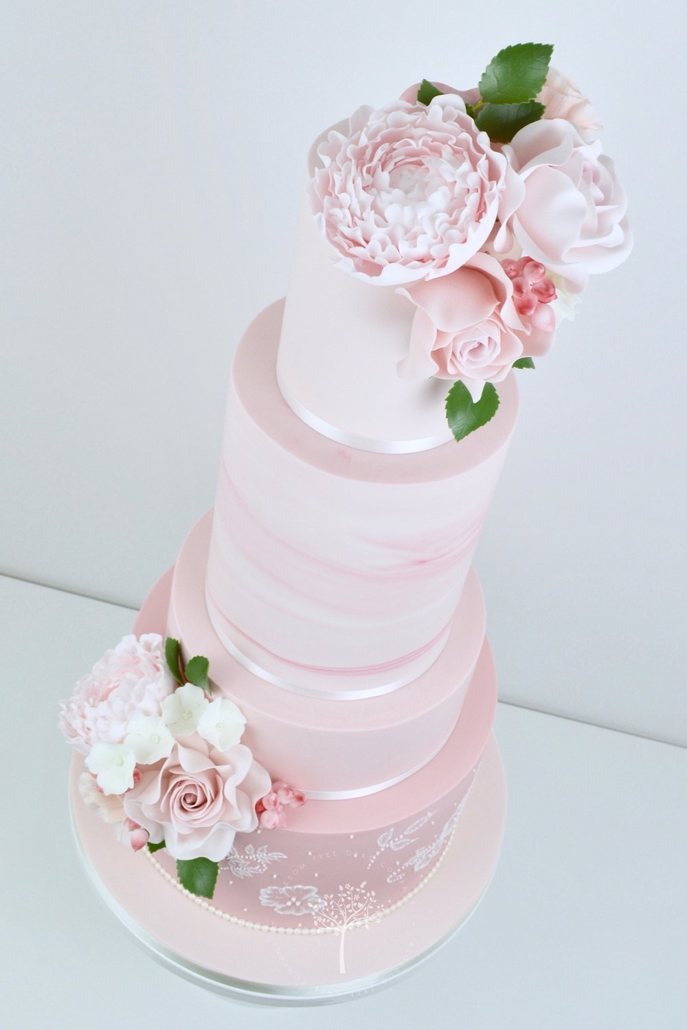 Pink Marble and Lace wedding cake by Blossom Tree Cake Company Harrogate North Yorkshire - angle.jpg