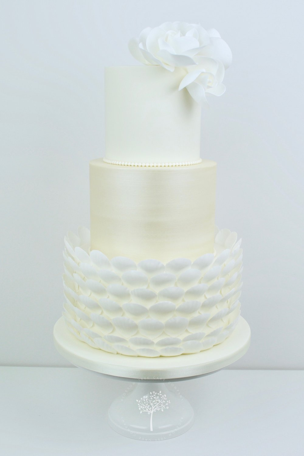 White Roses with Pearls wedding cake by Blossom Tree Cake Company Harrogate North Yorkshire.jpg