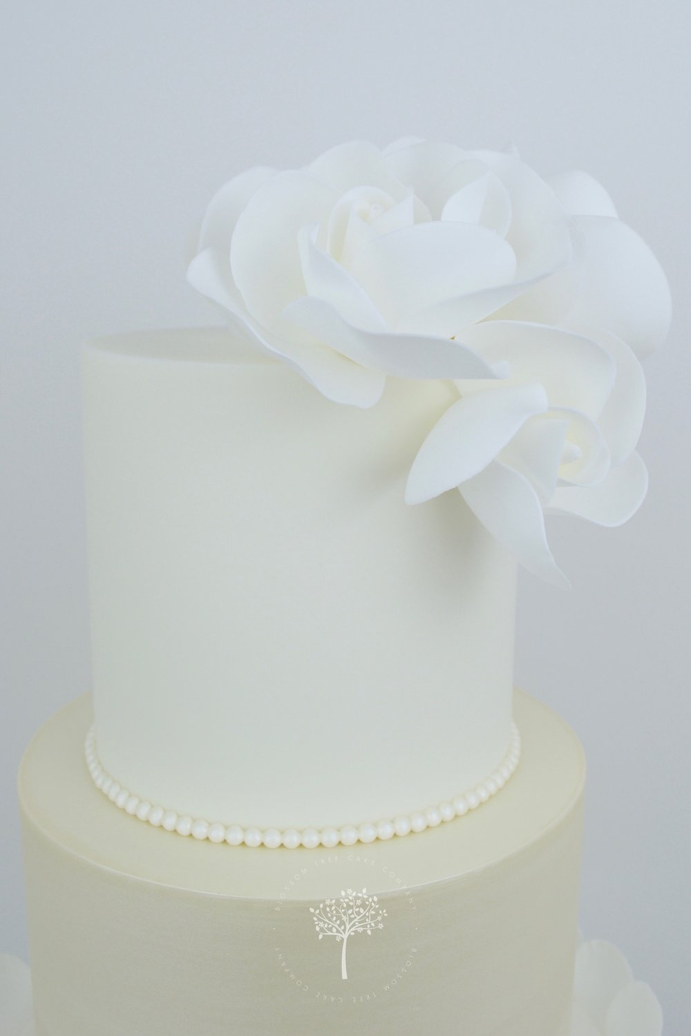 White Roses with Pearls wedding cake by Blossom Tree Cake Company Harrogate North Yorkshire - top sugar roses.jpg