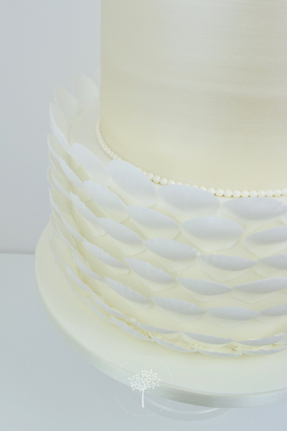 White Roses with Pearls wedding cake by Blossom Tree Cake Company Harrogate North Yorkshire - petal shell ruffles.jpg