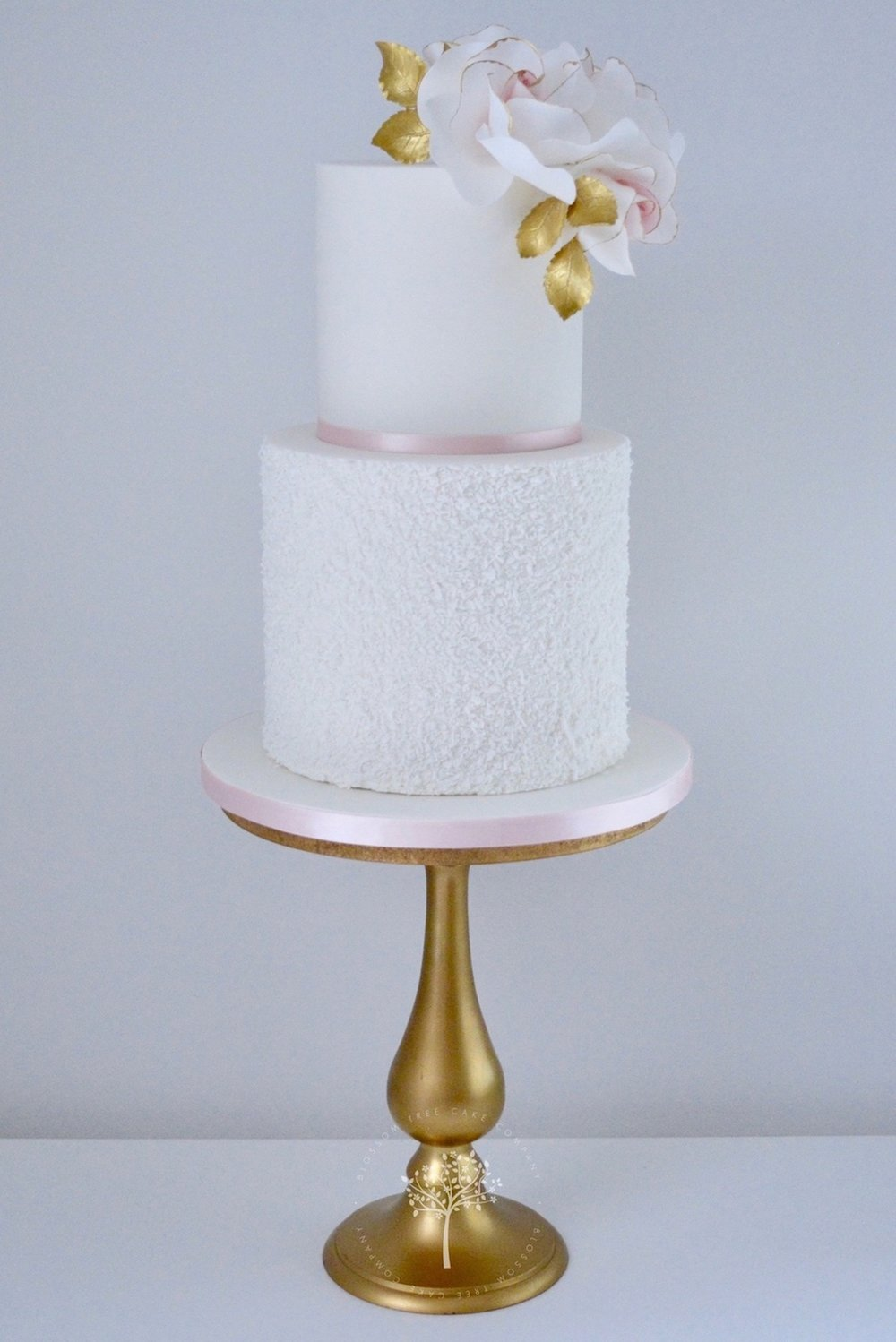 Blush and Gold Roses celebration cake by Blossom Tree Cake Company Harrogate North Yorkshire.jpg