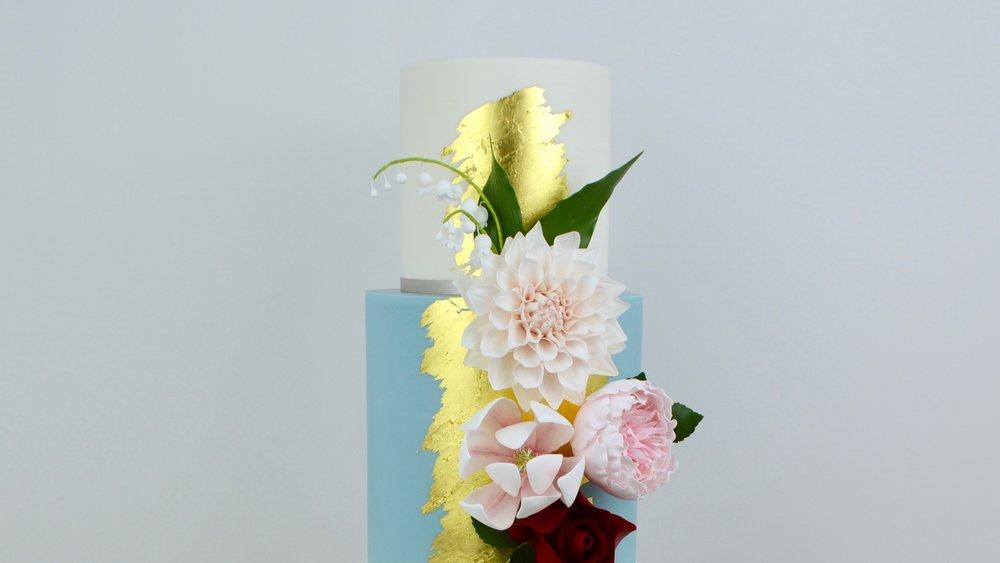 Cafe au Lait Dahlia - Splashes of broken gold leaf and elegant sugar flowers for a striking birthday cake