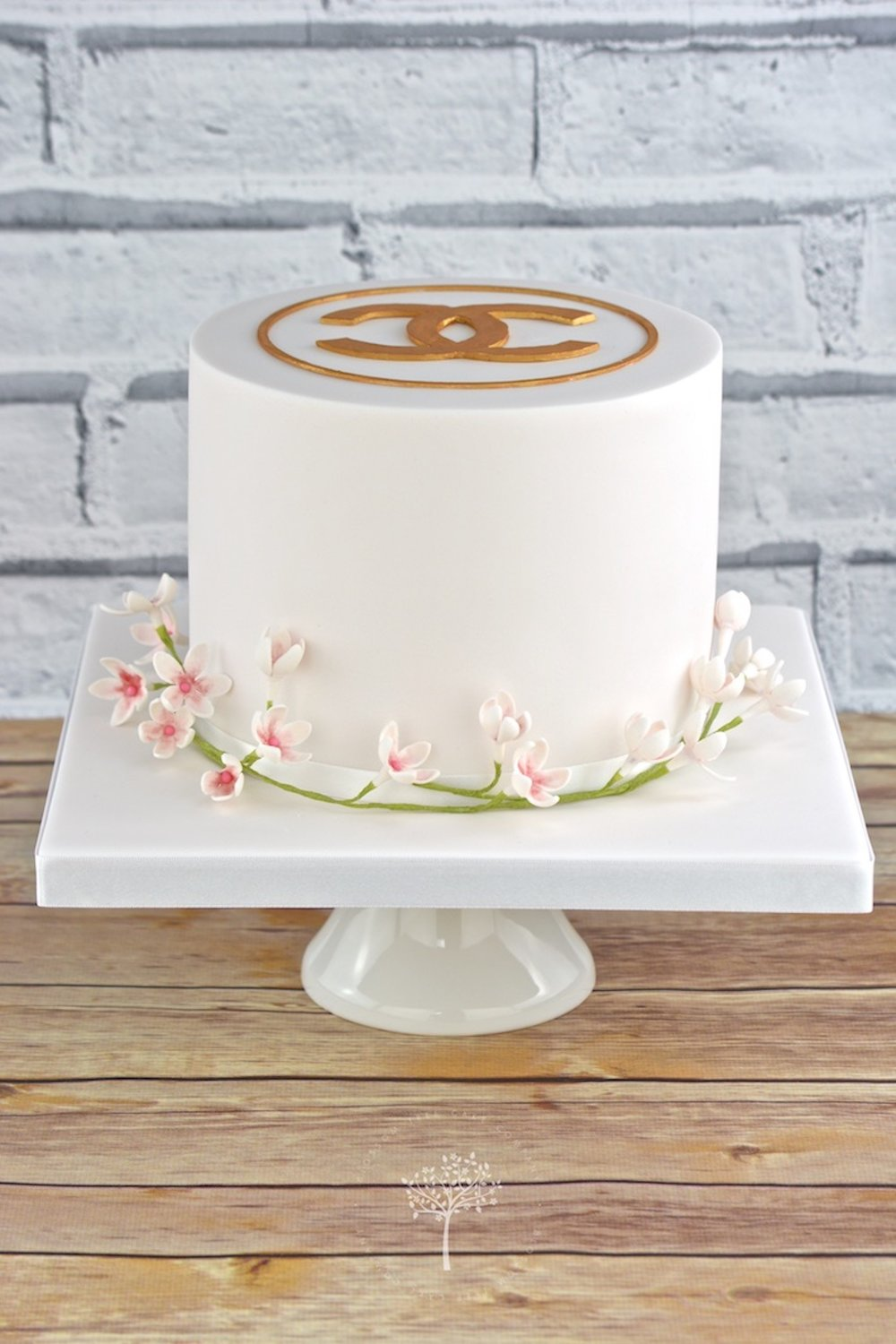 Blush pink Chanel celebration cake by Blossom Tree Cake Company Harrogate North Yorkshire.jpg