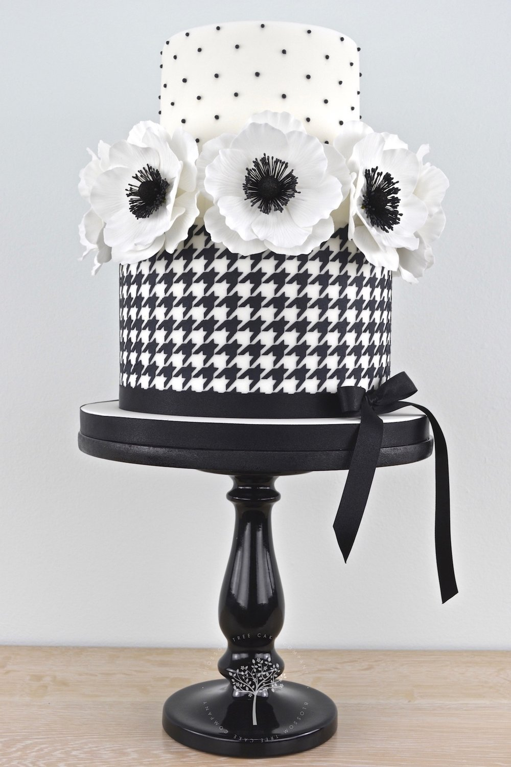Houndstooth and Anemones celebration cake by Blossom Tree Cake Company Harrogate North Yorkshire.jpg