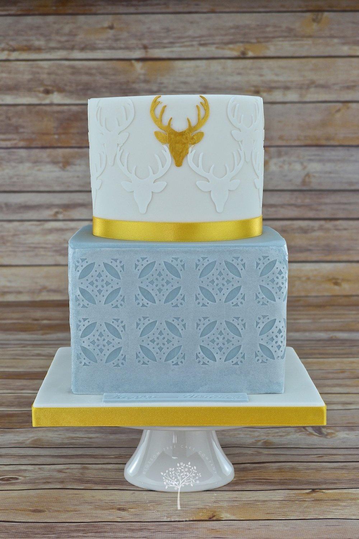 Gold Stag celebration cake by Blossom Tree Cake Company Harrogate North Yorkshire.jpg