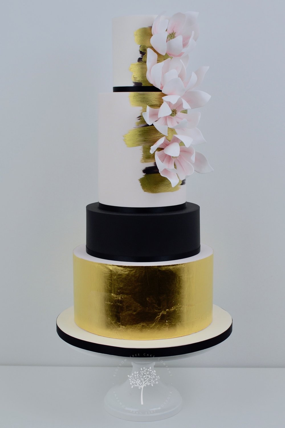 Gold Magnolias wedding cake by Blossom Tree Cake Company Harrogate North Yorkshire.jpg