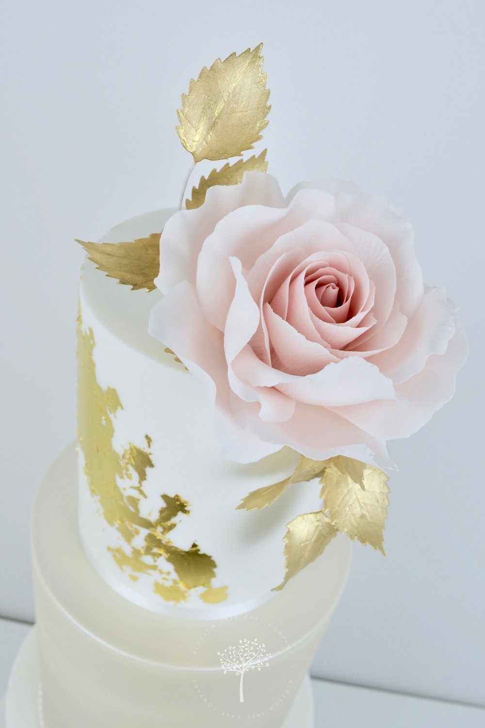 Blush Rose and Champagne wedding cake by Blossom Tree Cake Company Harrogate North Yorkshire - top sugar rose.jpg