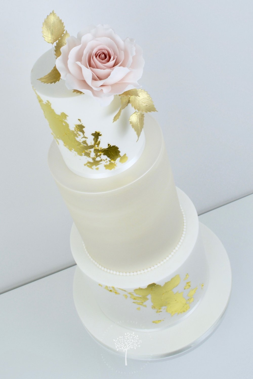 Dusky Blue and Peony wedding cake by Blossom Tree Cake Company Harrogate North Yorkshire - angle.jpg