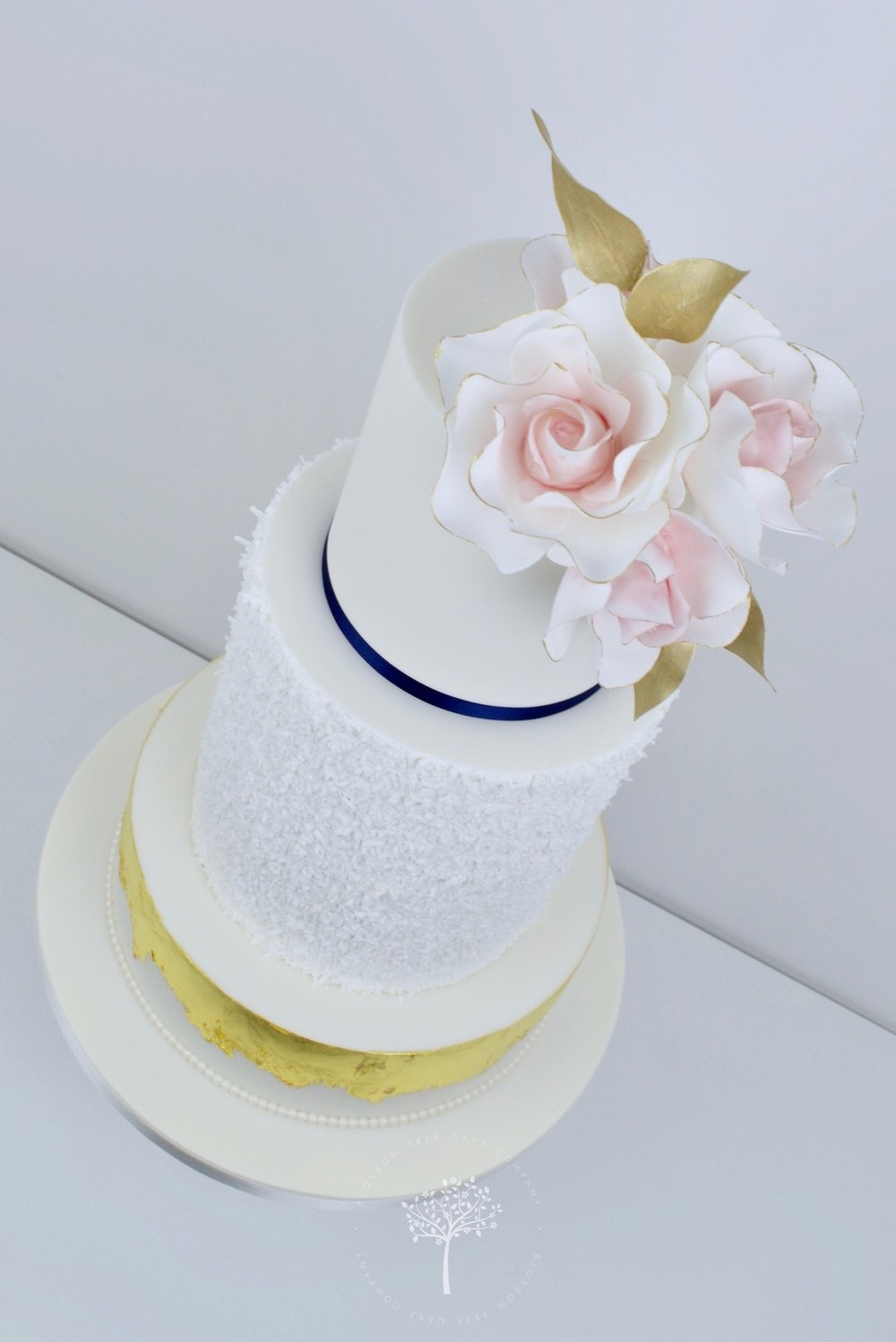 Blush Roses and Gold Leaf wedding cake by Blossom Tree Cake Company Harrogate North Yorkshire - anglejpg.jpg
