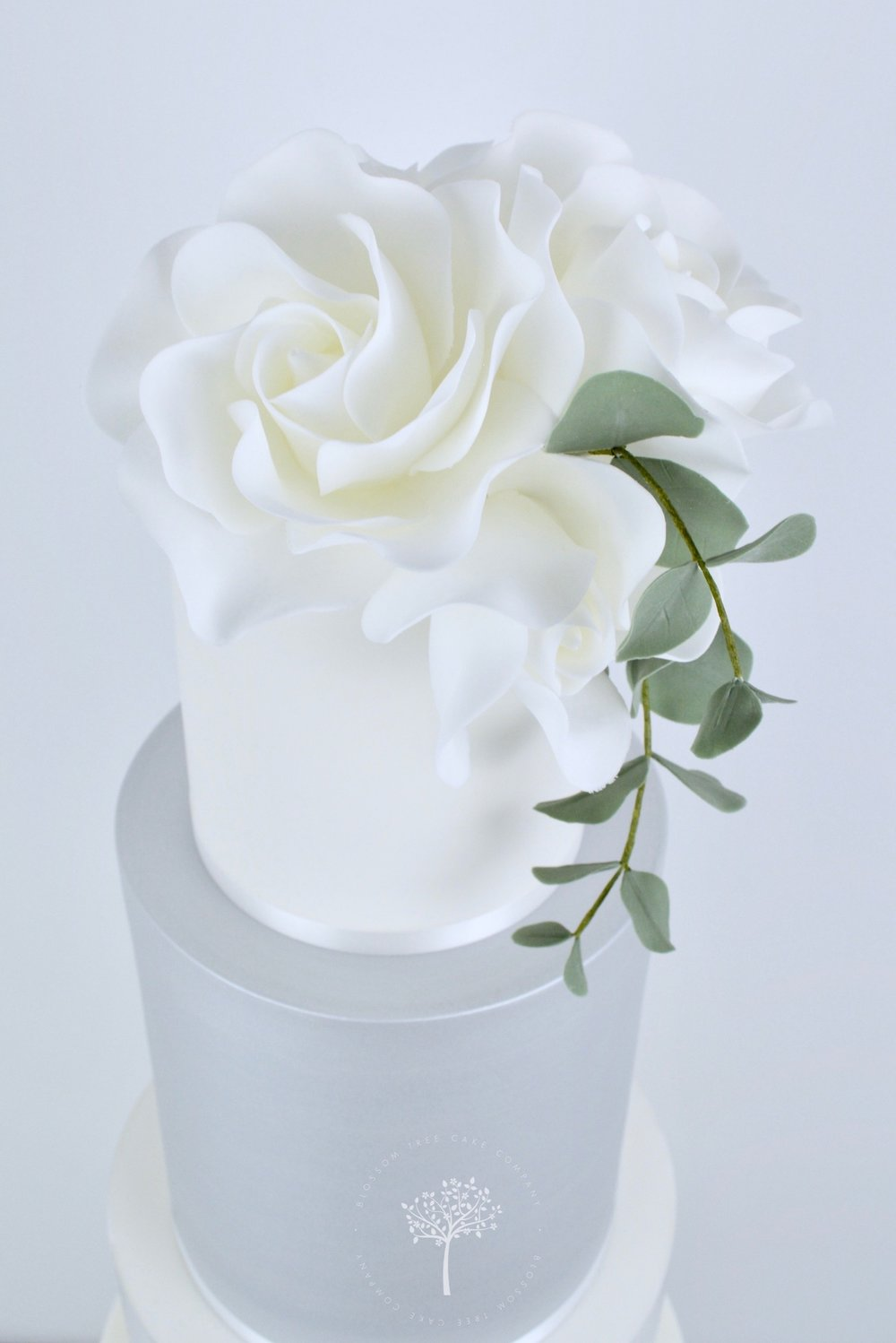 Roses and Silver Lustre wedding cake by Blossom Tree Cake Company Harrogate North Yorkshire - top sugar roses.jpg