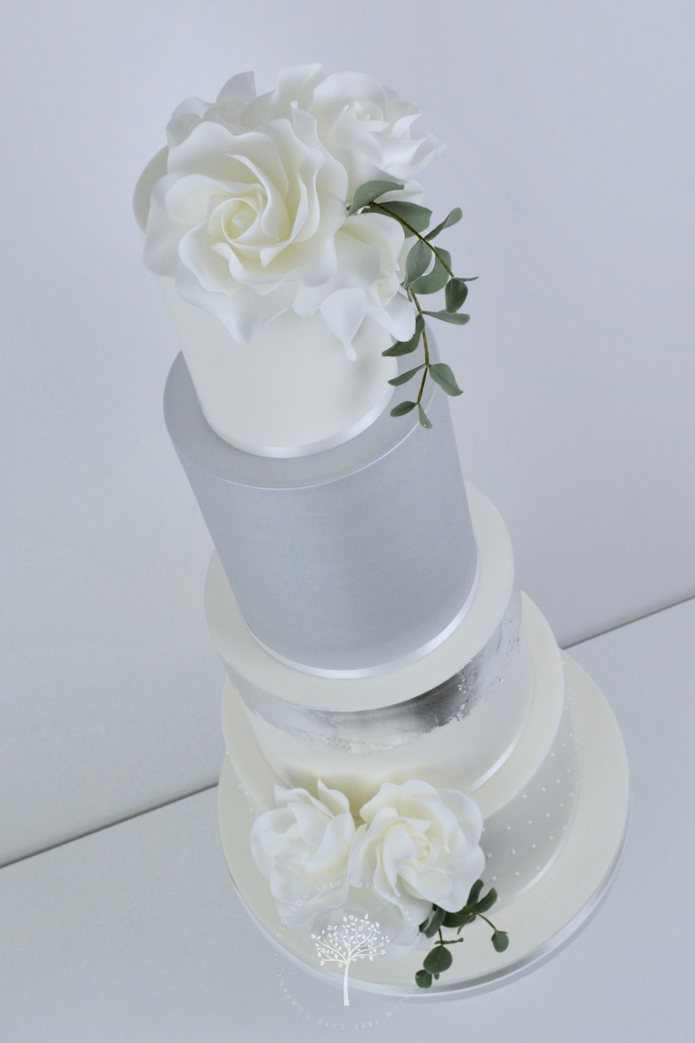 Roses and Silver Lustre wedding cake by Blossom Tree Cake Company Harrogate North Yorkshire - angle.jpg