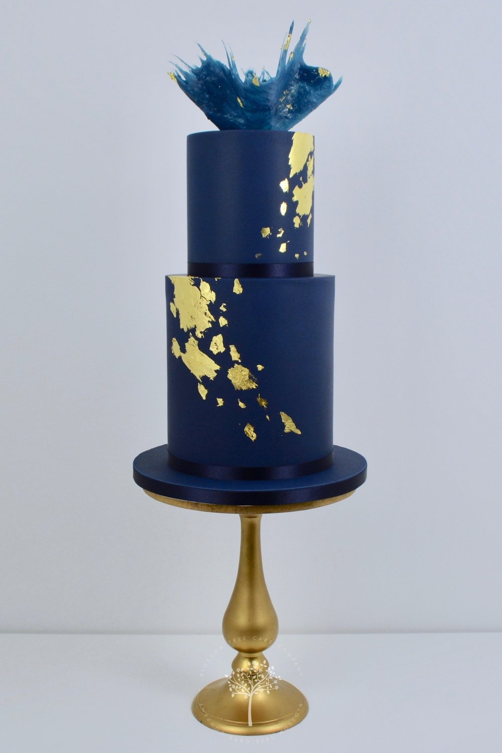 Midnight Gold celebration cake by Blossom Tree Cake Company Harrogate North Yorkshire.jpg