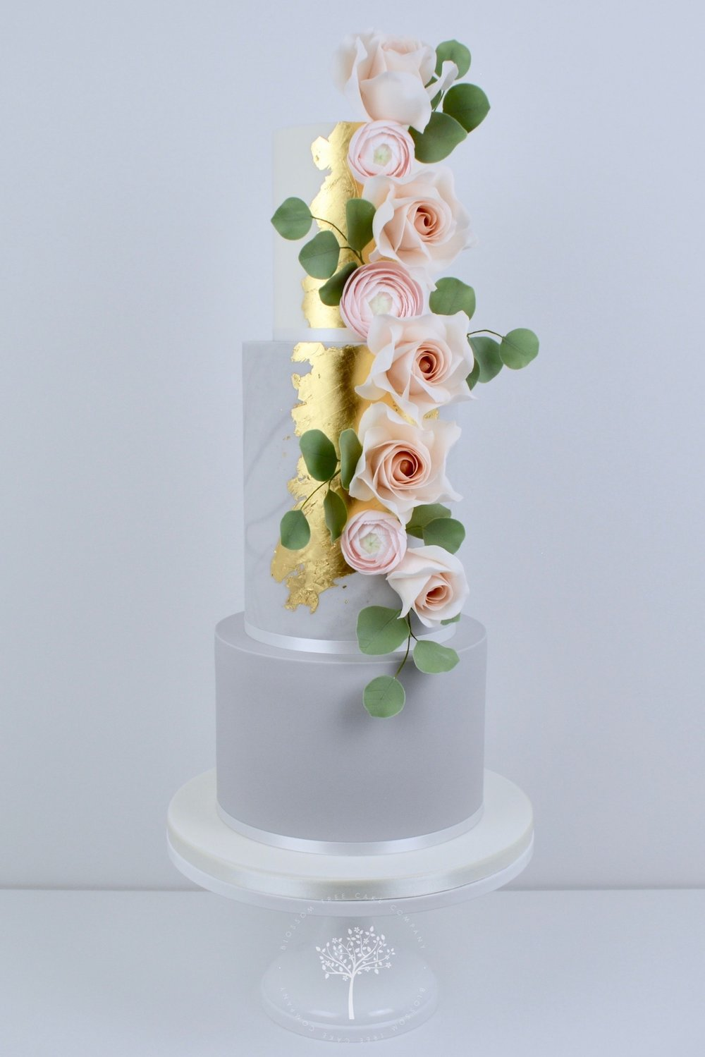 Rose Gold and Ranunculus wedding cake by Blossom Tree Cake Company Harrogate North Yorkshire.jpg