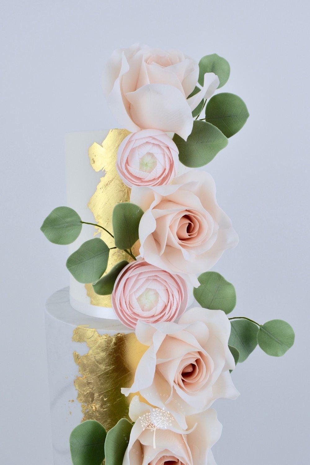 Rose Gold and Ranunculus wedding cake by Blossom Tree Cake Company Harrogate North Yorkshire - top sugar flowers.jpg