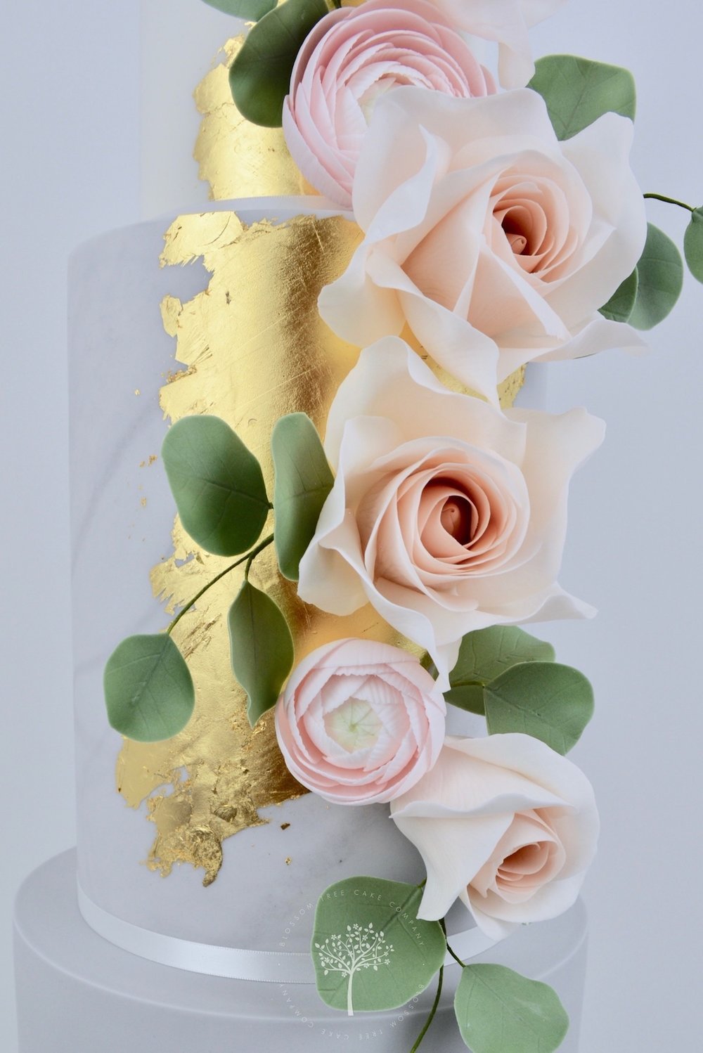 Rose Gold and Ranunculus wedding cake by Blossom Tree Cake Company Harrogate North Yorkshire - sugar flowers.jpg