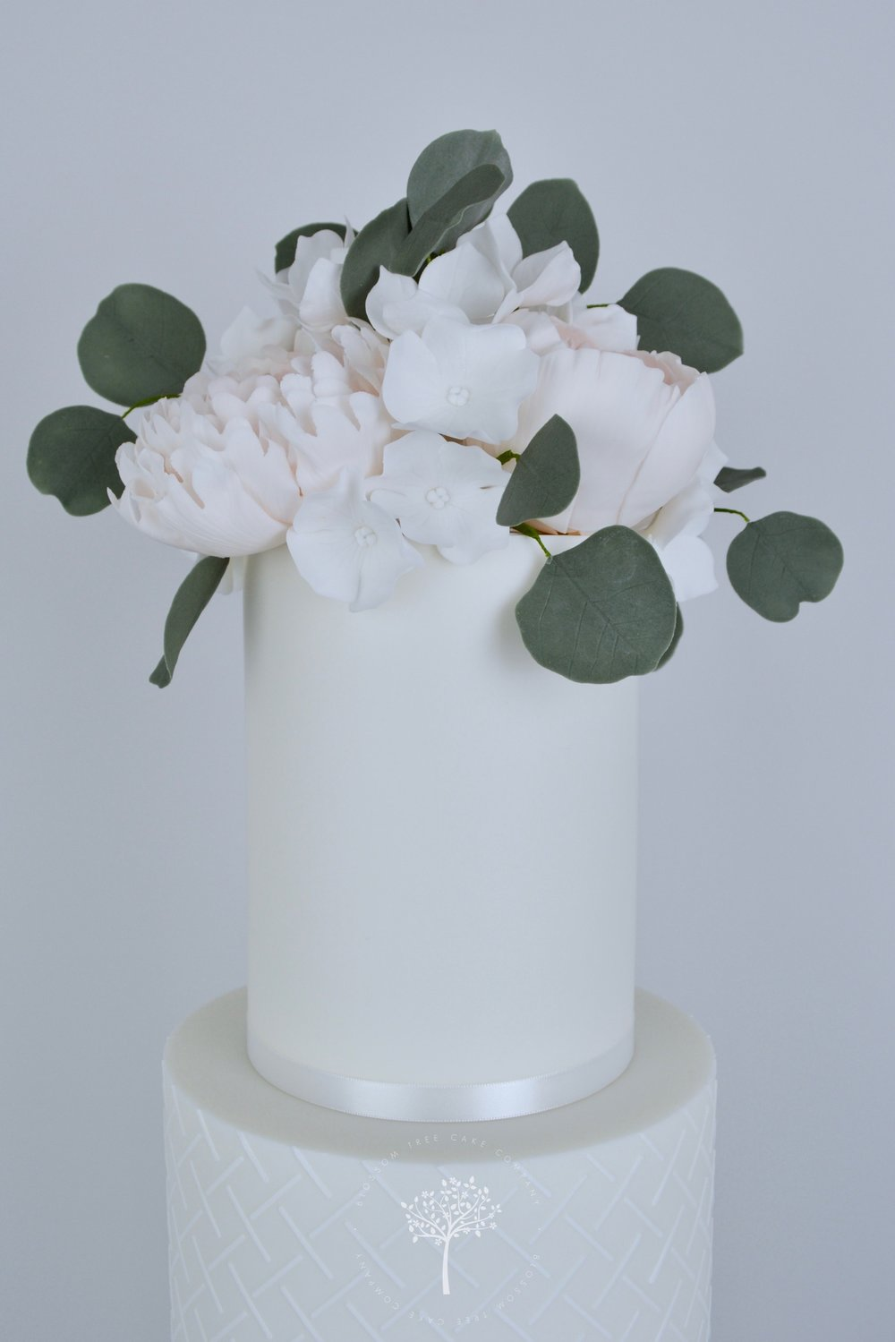 Peony and Magnolia Wedding Cake by Blossom Tree Cake Company Harrogate North Yorkshire - top sugar flowers.jpg