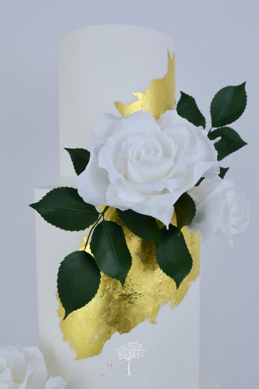 White Roses Wedding Cake by Blossom Tree Cake Company Harrogate North Yorkshire - top sugar roses.jpg