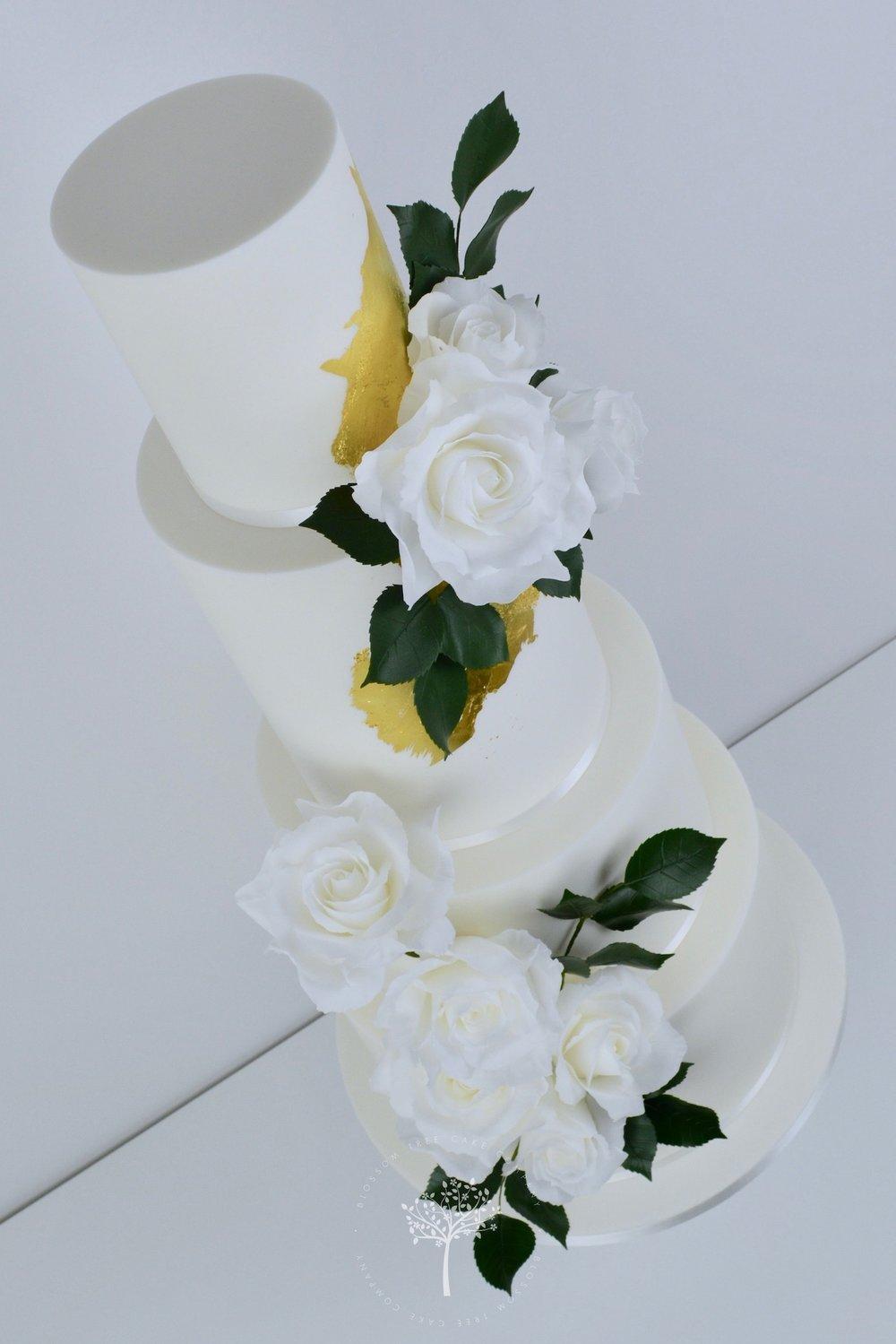 White Roses Wedding Cake by Blossom Tree Cake Company Harrogate North Yorkshire - angle.jpg